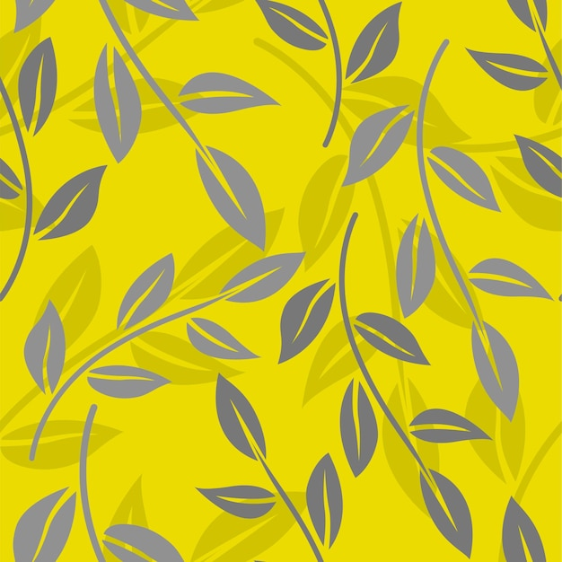 Seamless pattern with minimalistic leaves. botanical background in color of the year 2021.