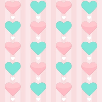 Бесшовный фон с мятой и розовыми сердцами на розовом. векторная иллюстрация