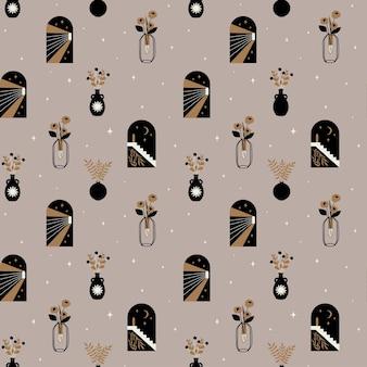 현대 아치 태양 하프문과 꽃병 보헤미안 미적 추상에 꽃과 원활한 패턴