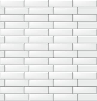 モダンな長方形の白いタイルとのシームレスなパターン。現実的な水平テクスチャ。図。