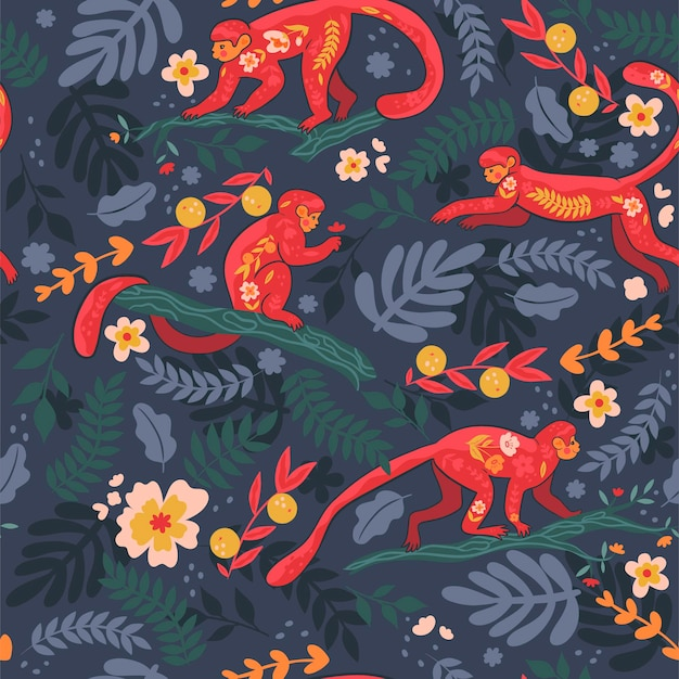 Seamless pattern with monkeys on the branches. vector graphics.
