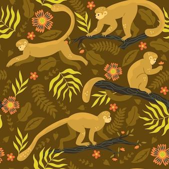 Бесшовный фон с обезьянами на ветвях. векторная графика.