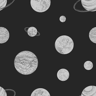 Seamless pattern with monochrome planets and other space objects on black