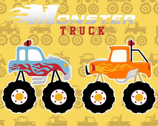 Seamless pattern with monster truck cartoon