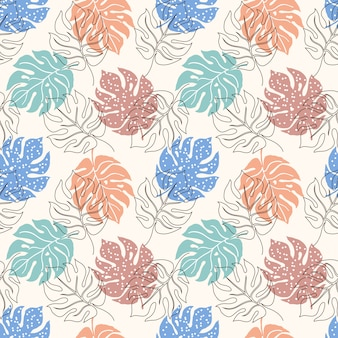 Seamless pattern with monstera leaves
