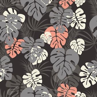 Бесшовные шаблон с monstera пальмовых листьев и растений на темном фоне