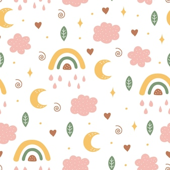 Seamless pattern with moon, cloud and rainbow in the sky.