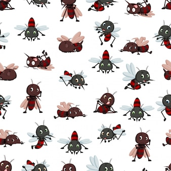 Seamless pattern with mosquito cartoon
