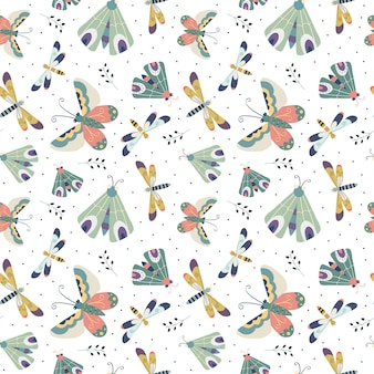 Seamless pattern with moth, butterfly and dragonfly in the white backdrop