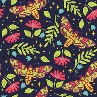 Seamless pattern with moths dead head.  graphics.