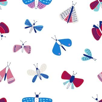 白の蛾とのシームレスなパターン。