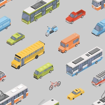 Seamless pattern with motor vehicles of various types