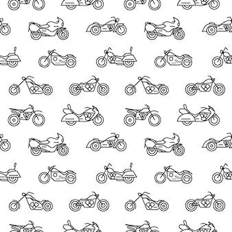 チョッパー、ボバー、スポーツ、モトクロスバイクなど、白い背景に黒い等高線で描かれたさまざまなタイプのオートバイとのシームレスなパターン。モダンな線画スタイルのイラスト。