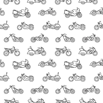 Seamless pattern with motorcycles of various types drawn with black contour lines on white background - chopper, bobber, sport and motocross bikes. illustration in modern lineart style.