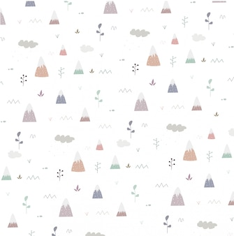 Seamless pattern with mountain and tree
