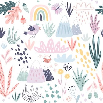 Seamless pattern with mountains plants cacti clouds and other elements. cute hand drawn   illustration
