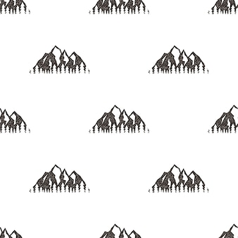 Seamless pattern with mountains in retro hipster style. can be used for wallpaper, pattern fills, textile, web page background, surface textures. stock vector illustration isolated on white.