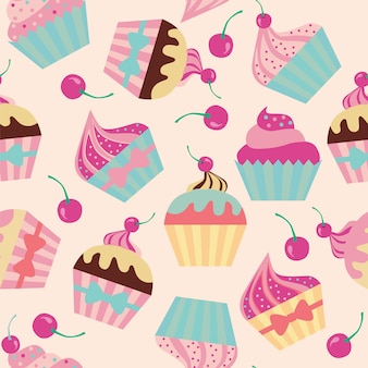 Seamless pattern with muffins and cherry.
