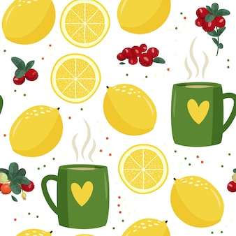 Seamless pattern with mug, lemon and cranberries.