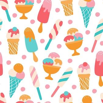 Бесшовный фон с разноцветным ягодным мороженым на белом фоне