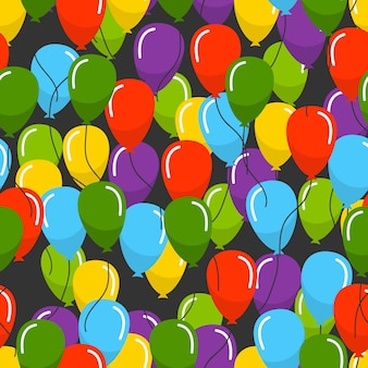 Seamless pattern with multicolored helium balloons on black background. vector illustration.