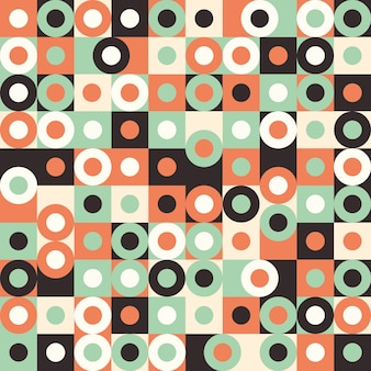 Seamless pattern with multicolored large circles and squares