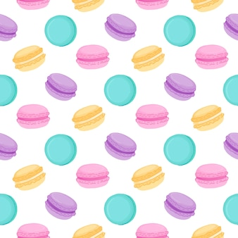 Seamless pattern with multicolored macaroons