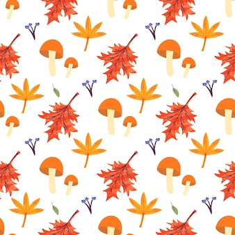 Бесшовный фон с грибами и листьями клена, дуба, ясеня. осенний фон шаблон украшен модными элементами. плоские естественные векторные иллюстрации для рекламы, продвижения