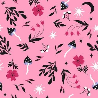 キノコと花のシームレスなパターン。