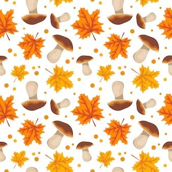 きのことオレンジ色のカエデのシームレスなパターンは、自然の贈り物と明るい秋のプリントを残します...