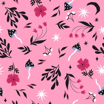 Seamless pattern with mushrooms and flower.