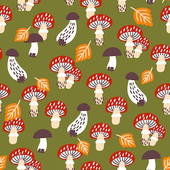 キノコとのシームレスなパターン。布、テキスタイル、包装紙に最適です。