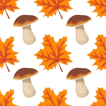 Seamless pattern with mushrooms and orange maple leaves bright autumn print with gifts of nature and...