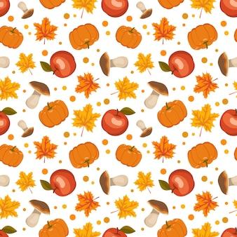 Бесшовный фон с грибами, тыквами, яблоками и кленовыми листьями. яркий осенний принт с красными и оранжевыми дарами природы