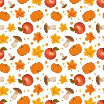 Seamless pattern with mushrooms, pumpkins, apples and maple leaves. bright autumn print with red and orange gifts of nature