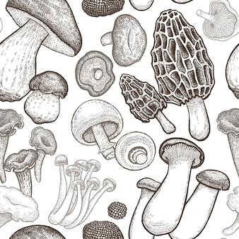 Бесшовный фон с грибами.