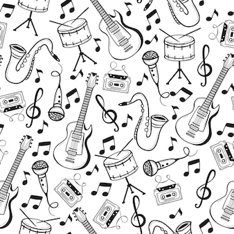 Seamless pattern with musical instruments in doodle style