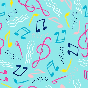 Seamless pattern with musical notes for music festivals, summer parties.