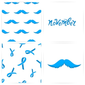 Seamless pattern with mustaches, blue ribbons. the hand drawn inscription is november. card for prostate cancer concept.