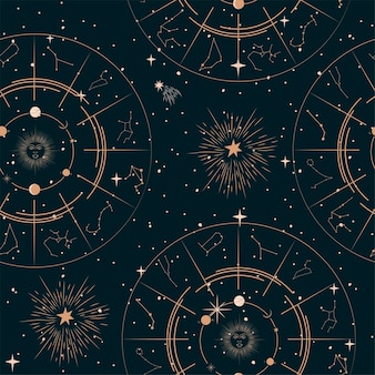 Seamless pattern with mystical and astrology elements, space objects, planet, constellation, zodiac sings