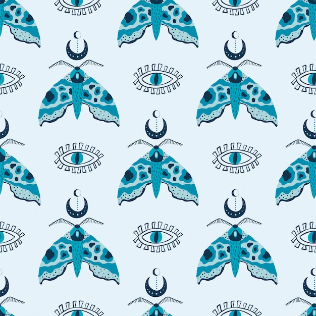 Seamless pattern with mystical moths and eyes on white