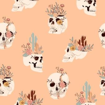 神秘的な、野生の西部とメキシコの要素とのシームレスなパターン。頭蓋骨、サボテン、植物。
