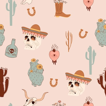 Seamless pattern with mystical, wild west and mexican elements. skull in mexican hat, cactus, horseshoe, heart, buffalo skull.