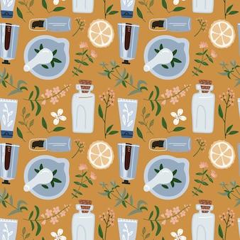 천연 재료-분기, 열매와 꽃으로 완벽 한 패턴입니다. 화장품 및 의료 식물. 박격포와 유봉.