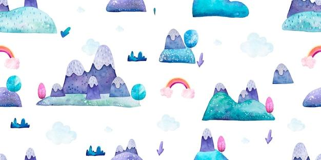 Бесшовный образец с природным пейзажем горами и детской акварельной иллюстрацией радуги