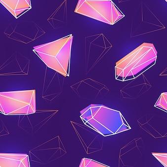 ネオン色の宝石、鉱物の結晶またはピラミッドと紫色の背景にそれらの輪郭とのシームレスなパターン。壁紙、生地印刷、背景のスタイリッシュなカラフルなイラスト。