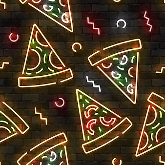 Seamless pattern with neon pizza on a wall.