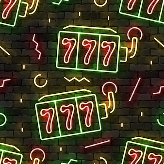Seamless pattern with neon slot machines on a wall.