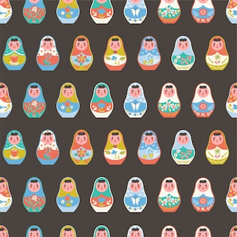 Seamless pattern with nesting dolls.
