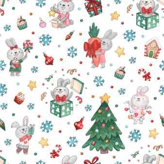 Seamless pattern with new year bunnies christmas tree and decorations